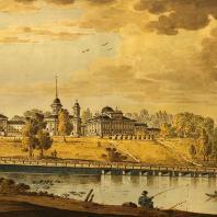 Пехра-Яковлевское. Общий вид усадьбы. Акварель (40-е годы XIX в.)
