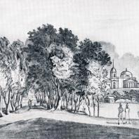 Кузьминки. Тенденция свободного размещения архитектурных акцентов парка. Из альбома «Виды села Влахернского» (1841 г.)