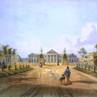 Кузьминки. Вид большого въезда. Из альбома «Виды села Влахернского» (1841 г.)