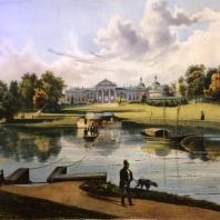 Кузьминки. Вид дома со стороны пруда. Из альбома «Виды села Влахернского» (1841 г.)
