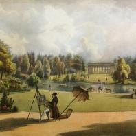 Кузьминки. Вид павильона за прудомИз альбома «Виды села Влахернского» (1841 г.)