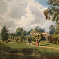 Кузьминки. Вид фруктовых теплиц. Из альбома «Виды села Влахернского» (1841 г.)