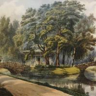 Кузьминки. Вид беседки на острове. Из альбома «Виды села Влахернского» (1841 г.)
