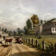 Кузьминки. Вид флигелей. Из альбома «Виды села Влахернского» (1841 г.)
