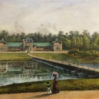 Кузьминки. Вид скотного двора. Из альбома «Виды села Влахернского» (1841 г.)