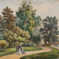 Кузьминки. Вид части сада. Из альбома «Виды села Влахернского» (1841 г.)
