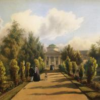 Кузьминки. Вид оранжереи с северной стороны. Из альбома «Виды села Влахернского» (1841 г.)