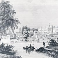 Центральная часть усадьбы Марфино (1840 г.). Литография Шануйи и Бешебуа
