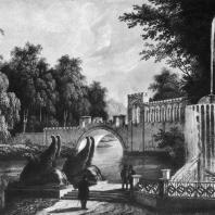 Марфино (1840 г.). Пристань, фонтан и мост в парке. Лист из альбома с видами усадьбы