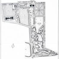 План парка музея-усадьбы Л.Н. Толстого Ясная Поляна. Проект реконструкции (автор В. А. Агальцова): 1 — регулярный парк Клины, 2 — ландшафтный парк, 3 — яблоневые сады, 4 — теплично-оранжерейный участок, 5 — партерные участки, 6 — теннисная площадка, 7 — дом Волконского, 8 — литературный музей, 9 — бытовой музей, 10 — павильон, 11 — теплицы, 12 — купальня, 13 — беседка-вышка, 14 — башни главного въезда, 15—18 — Большой, Верхний, Средний и Нижний пруды, 19 — «Прешпект», 20 — Красная аллея, 21—23 — березовая,