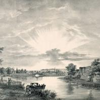 Общедоступный сад у Пресненских прудов в Москве. Литография А. Каделя (1825 г.)
