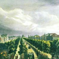 Тверской бульвар в Москве. Литография А. Каделя (1825 г.)