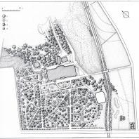 План парка Синоп: 1 — лиственные; 2 — пальмы; 3 — хвойные; 4 — кипарис пирамидальный