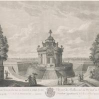 Пример садовой постройки периода позднего барокко. Круглая беседка на канале в Кускове Гравюра П. Лорана по рисунку М. Махаева