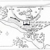 Горенки. Схематический план усадьбы: 1 — главный дом, 2 — павильоны, 3 — лестница в парке, 4 — оранжерея, 5 — кордегардии и каретные сараи (обмер С. Палентреер)