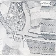 План села Остафьева. Аксонометрия (1805 г.). Архитектор И. Вахрамеев