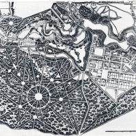 Фрагмент плана Павловского парка (1799 г.). Район Большой звезды