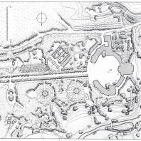 Павловск. План придворцового района (составлен О. Л. Ивановой): 1 — дворец, 2 — памятник Павлу I, 3 — собственный садик, 4 — павильон Трех граций, 5 — трельяж, 6 — галерея Гонзаго, 7 — большая лестница, 8 — Большие круги, 9 — вольер, 10 — летний театр, 11 — Турецкая беседка, 12 — Молочня, 13 — памятник героям гражданской войны