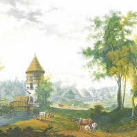 Пейзаж долины Славянки. Гравюра И. Ческого с картины С. Щедрина