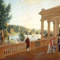 Вид на Мариентальекий пруд от павильона Трех граций. Картина неизвестного художника