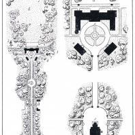 Центральная часть Качановского парка (обмеры И.А. Косаревского): I — планировка центральной части: а — пруд, б — поляна, в — дворцовая площадь, г — цветочная клумба, д — служебные постройки, е — главная аллея, ж — церковная площадь; II — фрагменты планировки: а — терраса, б — дворец, в — служебные постройки, г — церковь; растительность: 1 — липа, 2 — ель, 3 — явор, 4 — клен остролистный, 5 — каштан, 6 — тополь, 7 — сосна Веймутова, 8 — дуб, 9 — берест, 10 — сосна обыкновенная