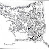 План Сокиренского парка (обмеры И.А. Косаревского): 1 — подъездная аллея, 2 — вход, 3 — главная аллея, 4 — партер перед дворцом, 5 — дворец, 6 — центральная поляна, 7 — оранжерея, 8 — ротонда, 9 — готический мост, 10 — мост, 11 — шлюз, 12 — колодезь, 13 — хозяйственные постройки, 14 — большая поляна