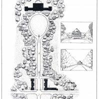 Центральная часть Сокиренского парка: 1 — площадь перед входом, 2 — вход, 3 — служебные постройки, 4 — главная аллея, 5 — дворец, 6 — центральная поляна