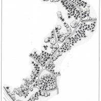 План участка дороги в долинной части парка «Тростянец» между Вершинным мостом пруда Куцыха и Большим прудом