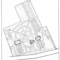 План старой части ботанического сада Одесского государственного университета им. И.И. Мечникова: А — главный вход; В — партер № I; В — административное здание; Г — розарий; Д — здание лабораторий;  Е — цитрарий; Ж - партер № II; И - бассейны; К - персиковый сад
