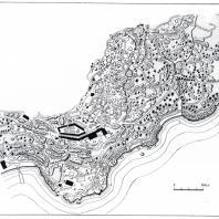 План Алупкинского парка: 1 — главная аллея, 2 — дворец, 3 — Чайный домик, 4 — скала Айвазовского, 5 — пляж, 6 — Каштановая поляна, 7 — Контрастная поляна, 8 — Солнечная поляна, 9 — Платановая поляна, 10 — Большой хаос, 11 — Малый хаос, 12 — озеро, 13 — источник «Трильби», 14 — Львиная терраса, 15 — двойной каскад, 16 — каскад у самшитовой рощи, 17 — рыбачья пристань