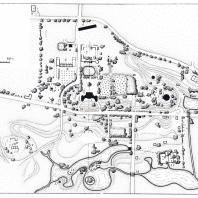 Генеральный план усадьбы Никольское: 1 — усадебный дом, 2 — погреб-пирамида, 3 — мавзолей, 4 — рига, 5 — зернохранилище, 6 — ветряная мельница, 7 — конный двор, 8 — оранжерея, 9 — кузница, 10 — постройки на Петровой горе, 11 — крестьянская рига, 12 — место старой деревни, 13 — скотный двор, 14 — каскады, 15 — грот-купальня, 16 — павильон на острове, 17 — павильон-ротонда, 18 — мосты из валунов, 19 — землебитная башня, 20 — водоподъемная машина, 21 — кладбище, 22 — современный сырный завод (обмер А.М. Харлам
