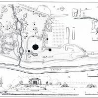 Усадьба Митино: I — схема расположения усадьбы; II — генеральный план усадьбы: 1 — дом, 2 — винный погреб, 3 — кузница, 4 — конный двор; III — панорама