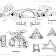 Постройки в усадьбах Митино и Василёво (обмеры А.М. Харламовой): 1 - мост в Василёве, 2 - детали моста, 3 - винный погреб-пирамида в Митине