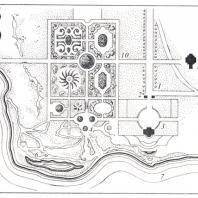 Генеральный план парка Богородицка (по А. Т. Болотову, 1785 г.): I — Церерина роща, II — необработанная часть, III — дворцовая часть