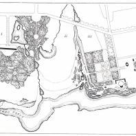 Дворцовая часть парка Богородицка: 1 — березовая аллея, 2 — крепостная надвратная башня, 3 — дворец и въездной двор, 4 — Белый павильон, 5 — Ротонда, 6 — Нижний пруд с островами, 7 — Городской пруд, 8 — здание усадебной церкви, 9 — сажалка для живой рыбы, 10 — французский партер