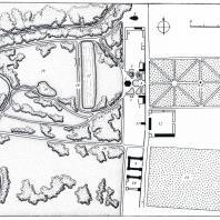 План усадьбы Городня (обмеры Г. Г. Оранской): 1 — главный дом, 2 — хозяйственные флигеля, 3 — фундаменты жилых флигелей, 4 — ворота, 5,6 — фундаменты бани и оранжерей, 7 — ограда, 8 — церковь Спаса, 9, 10 — рига (?), 11 — погреб, 12 — скотный двор, 13 — фруктовый сад, 14 — регулярный (верхний) парк («Роща»), 15 — предполагаемое место обелиска, 16 — пейзажный (нижний) парк, 17 — верхний пруд, 18 — дамба верхнего пруда, 19 — нижний пруд, 20 — колодец, 21 — древнее городище