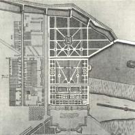 Дворец и Старый сад. Фрагмент плана Царского Села конца 1750-х гг. Народная библиотека в Варшаве