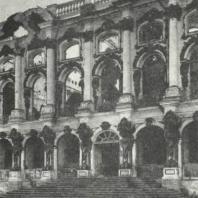 Царское Село. Большой дворец, разрушенный фашистскими захватчиками. Фото 1944 г.