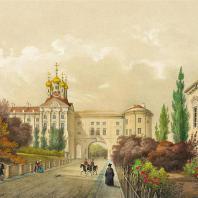 Вид на церковь в Екатерининском дворце. Царское село. Литография 1840-50 г.