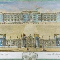 Вид Екатерининского дворца в Царском Селе со стороны парадного двора и циркумференций. Гравюра с картины Махаева М.И. 1761 г.